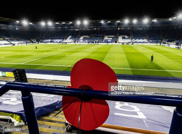 Remembrance poppy adorns the foreground of a general view of the King Power Stadium before kick-off during the UEFA Europa League Group G stage match...