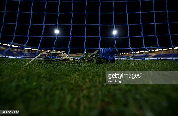 A remembrance rose lie behind the goal mouth during the FA Cup Second Round Replay match between Chester City and Barnsley at Deva Stadium on...