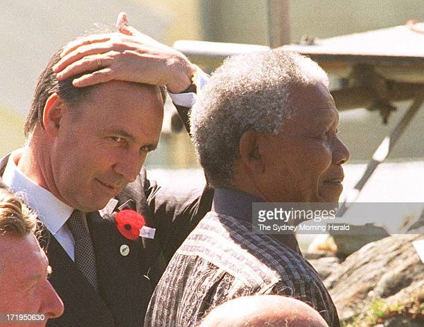 Remembrance Service in Arrowtown near Queenstown for some of the Commonwealth Heads of Government Australian PM Paul Keating with the South African...