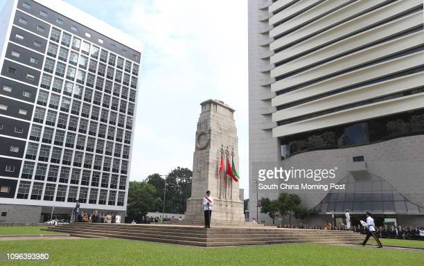 Remembrance Sunday ceremony to remember those who gave their lives in the defence of Hong Kong during the two World Wars at The Cenotaph, Statue...
