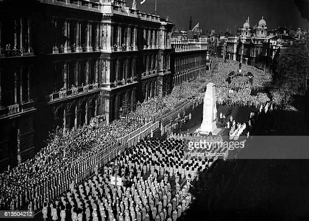 Remembrance Sunday service at the Cenotaph in Whitehall, London, circa 1945.