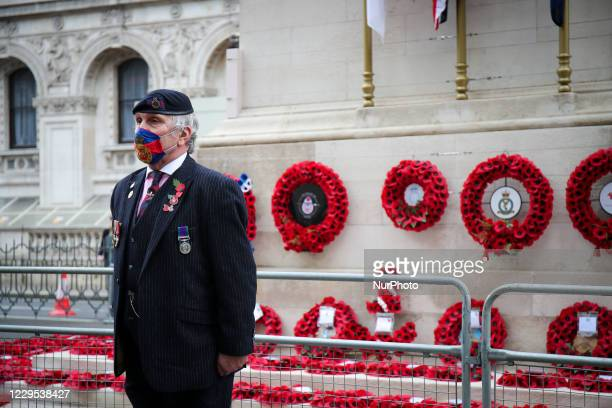 Remembrance Sunday, veterans and members of the public attend The Cenotaph to pay their respects following the earlier Service of Remembrance as...