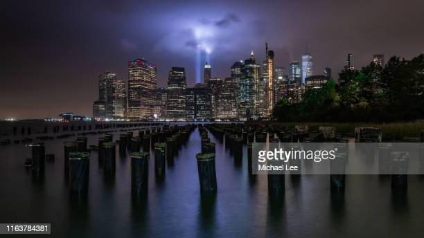 9/11 remembrance - tribute in light - 911 remembrance stock pictures, royalty-free photos & images
