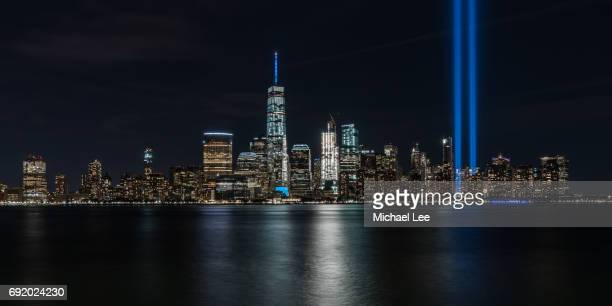 9/11 remembrance - tribute in light - world trade center memorial stock pictures, royalty-free photos & images