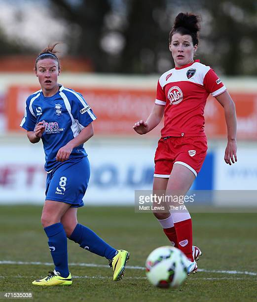 Remi Allen of Birmingham City Ladies and Angharad James of Bristol Academy Women challenge for the ball during the FA WSL match between Birmingham...