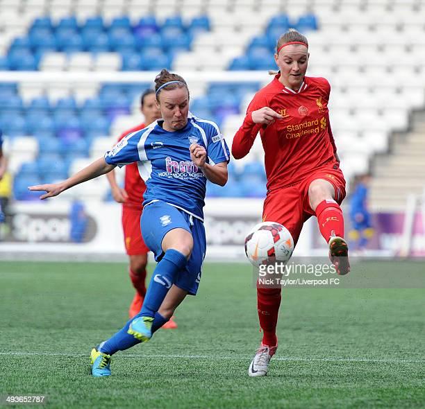 Remi Allen of Birmingham City Ladies and Corina Schroder of Liverpool Ladies in action during the FAWSL fixture between Liverpool Ladies and...