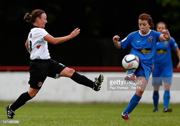 Remi Allen of Lincoln in action with Angharad James of Bristol during the FA WSL match between Lincoln Ladies FC and Bristol Academy Women's FC at...