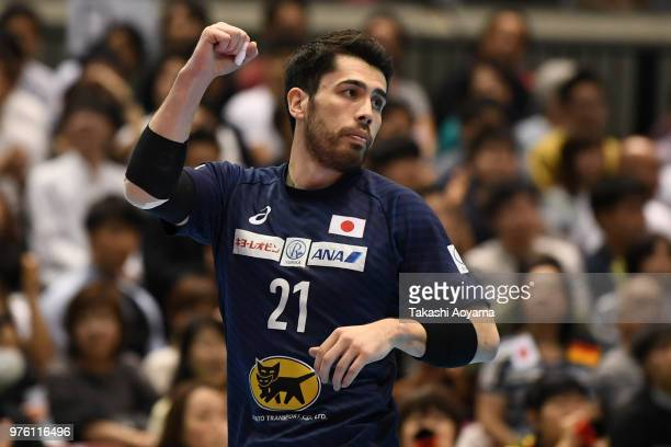Remi Anri Doi celebrates scoring a goal during the handball international match between Japan and Germany at the Tokyo Metropolitan Gymnasium on June...