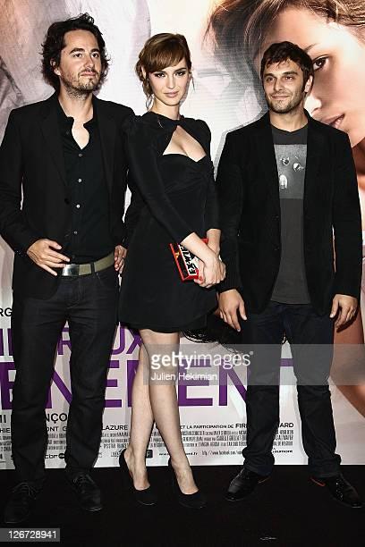 Remi Bezancon, Louise Bourgoin and Pio Marmai attend 'Un Heureux Evenement' Paris premiere at UGC Cine Cite Bercy on September 26, 2011 in Paris,...
