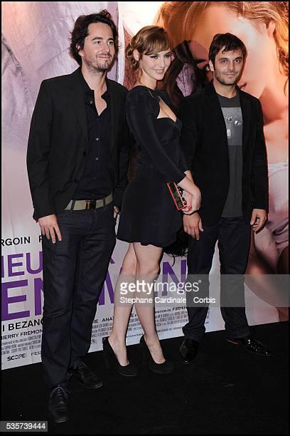 "Remi Bezancon, Pio Marmai and Louise Bourgoin attend the premiere of ""Un Heureux Evenement"" in Paris."
