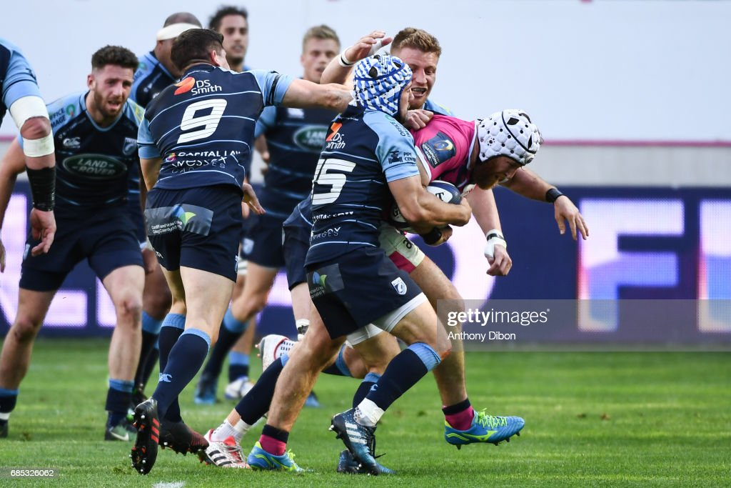 Remi Bonfils of Stade Francais during the Champions Cup Play-offs match between Stade Francais Paris and Cardiff Blues at Stade Jean Bouin on May 19, 2017 in Paris, France.
