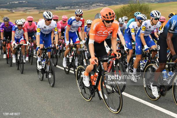 Remi Cavagna of France and Team Deceuninck - Quick-Step / Matthieu Ladagnous of France and Team Groupama - FDJ / Georg Zimmermann of Germany and CCC...