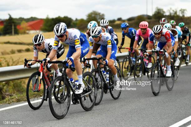 Remi Cavagna of France and Team Deceuninck - Quick-Step / Michael Storer of Australia and Team Sunweb / Andrea Bagioli of Italy and Team Deceuninck -...
