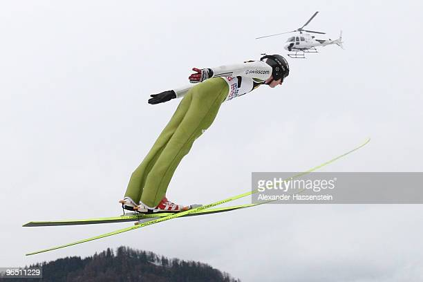Remi Francais of Switzerland competes during training the round for the FIS Ski Jumping World Cup event at the 58th Four Hills ski jumping tournament...