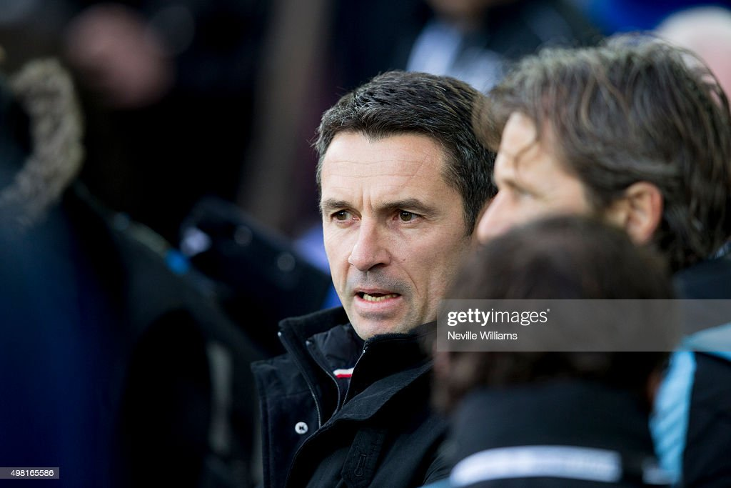 Remi Garde manager of Aston Villa during the Barclays Premier League match between Everton and Aston Villa at Goodison Park on November 21, 2015 in Liverpool, England.