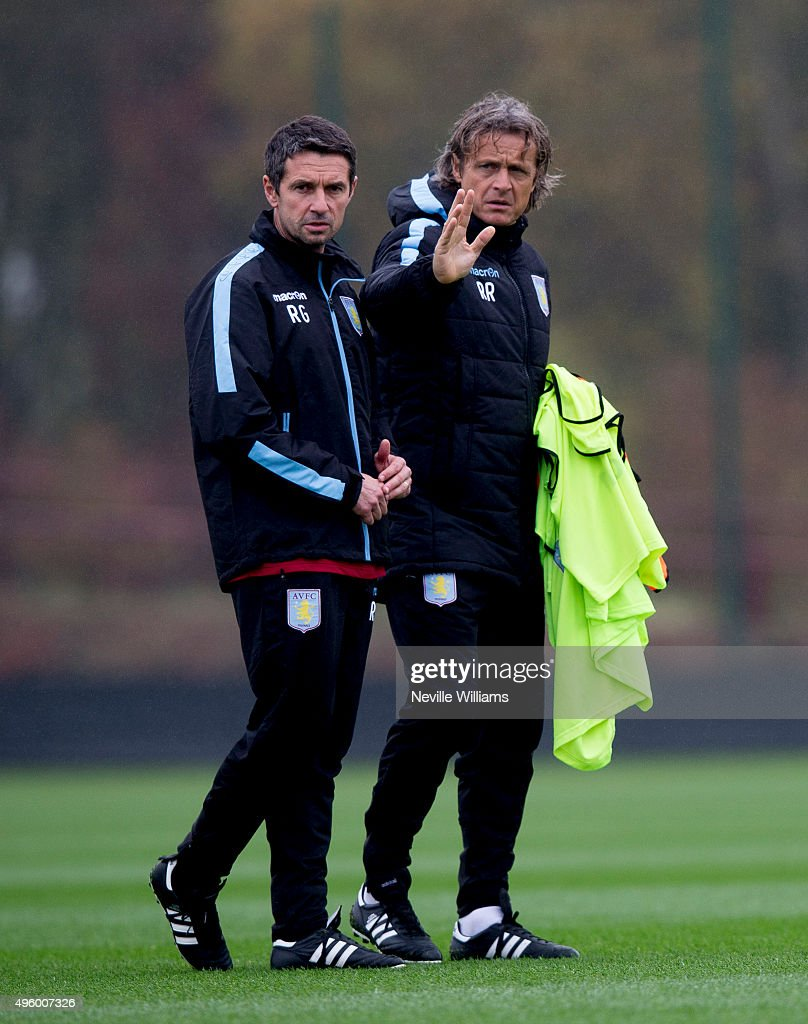 Remi Garde manager of Aston Villa in action with Reginald Ray assistant manager during a Aston Villa training session at the club's training ground at Bodymoor Heath on November 06, 2015 in Birmingham, England.