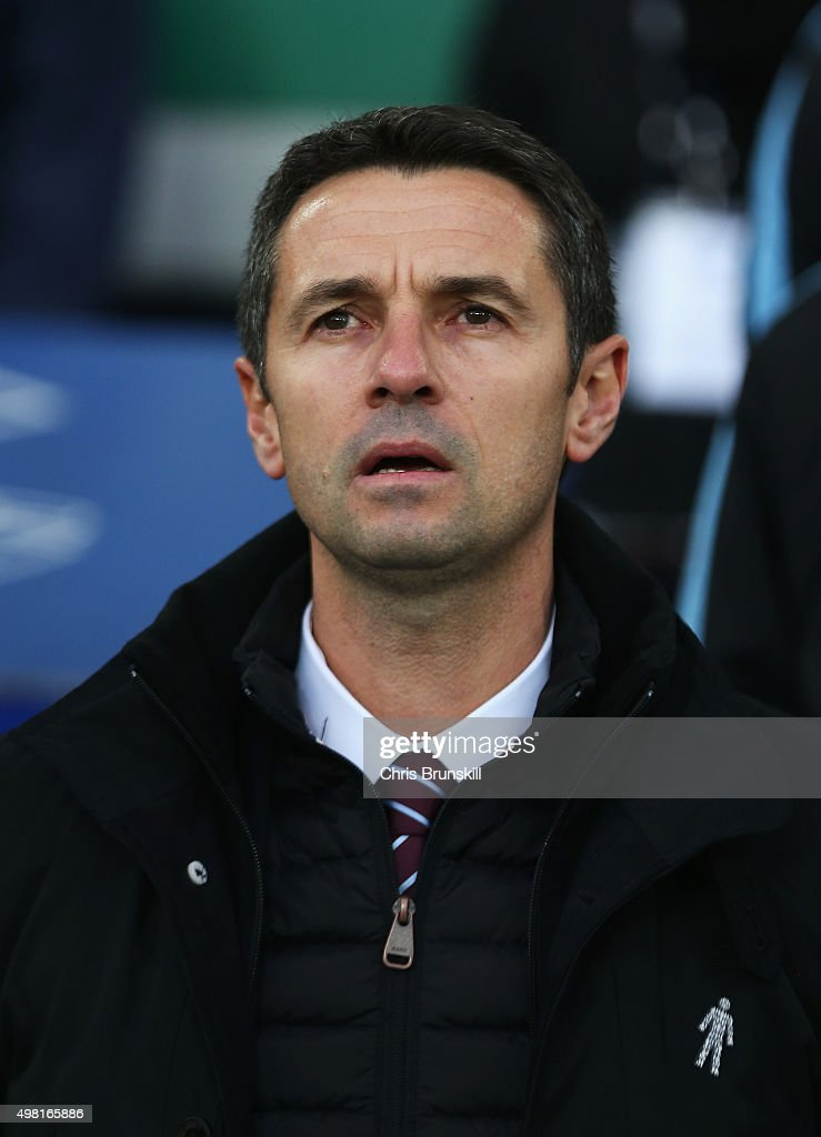 Remi Garde Manager of Aston Villa looks on during the Barclays Premier League match between Everton and Aston Villa at Goodison Park on November 21, 2015 in Liverpool, England.