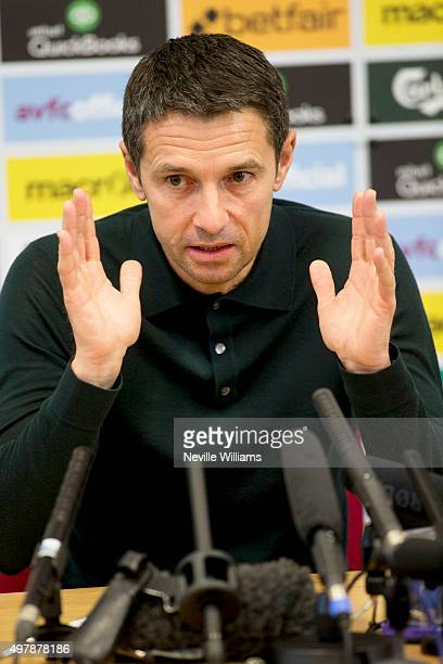 Remi Garde manager of Aston Villa talks to the press during a press conference at the club's training ground at Bodymoor Heath on November 19 2015 in...
