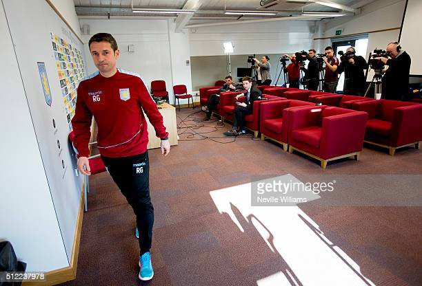 Remi Garde manager of Aston Villa talks to the press during a press conference at the club's training ground at Bodymoor Heath on February 25 2016 in...