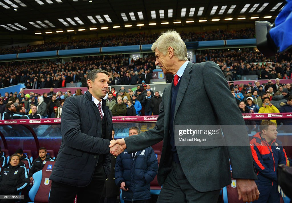 Remi Garde of Aston Villa and Arsene Wenger manager of Arsenal shake hands prior to the Barclays Premier League match between Aston Villa and Arsenal at Villa Park on December 13, 2015 in Birmingham, England.