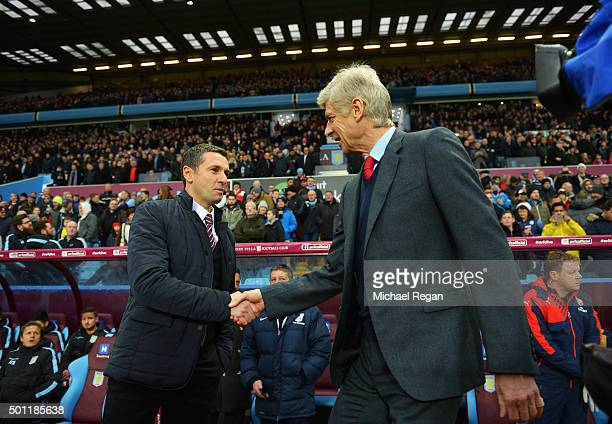 Remi Garde of Aston Villa and Arsene Wenger manager of Arsenal shake hands prior to the Barclays Premier League match between Aston Villa and Arsenal...