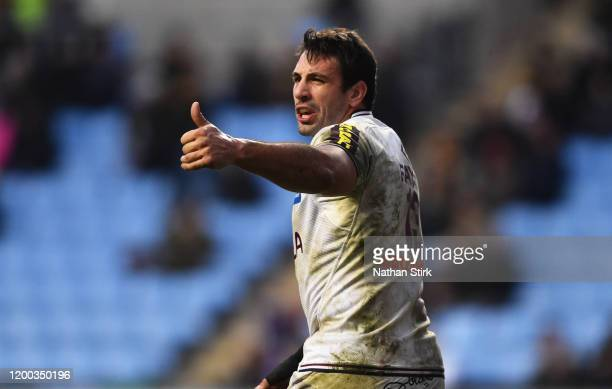Remi Lamerat of Bordeaux Begles gestures during the European Rugby Challenge Cup Round 6 match between Wasps and Bordeaux Begles at The Ricoh Arena...
