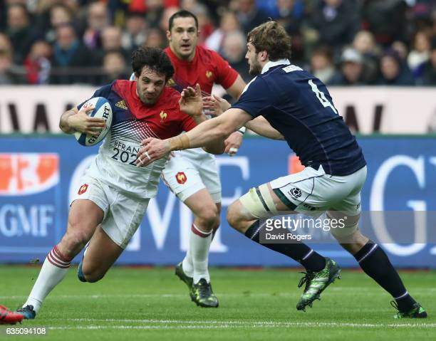 Remi Lamerat of France takes on Richie Gray during the RBS Six Nations match between France and Scotland at Stade de France on February 12 2017 in...