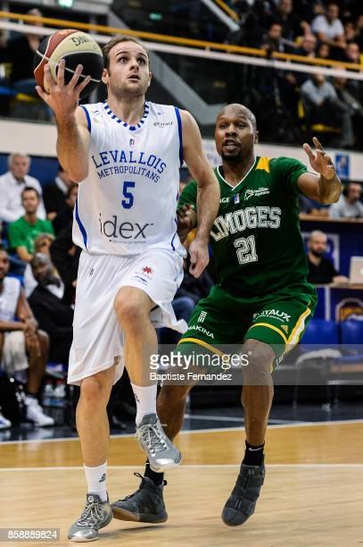 Remi Lesca of Levallis and Danny Gibson of Limoges during the Pro A match between Levallois and Limoges on October 7 2017 in LevalloisPerret France