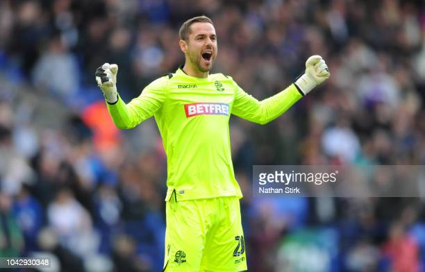 Remi Matthews of Bolton celebrates after the Sky Bet Championship match between Bolton Wanderers and Derby County at Macron Stadium on September 29...