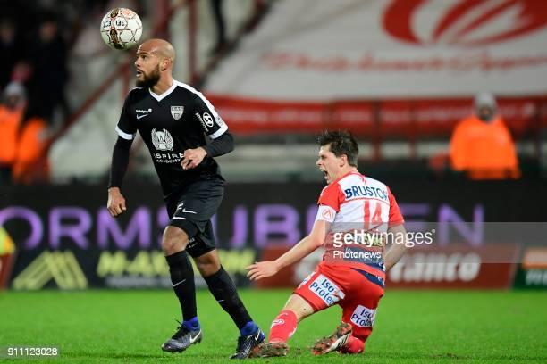 Remi Mulumba midfielder of Eupen beats Hannes Van Der Bruggen midfielder of KV Kortrijk to the ball during the Jupiler Pro League match between KV...