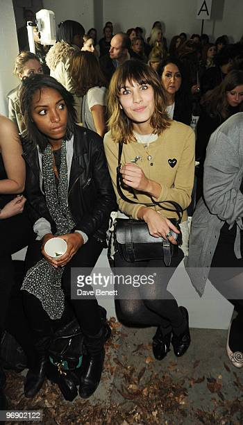 Remi Nicole and Alexa Chung back stage at the Topshop Unique show in Covent Garden on February 20 2010 in London England