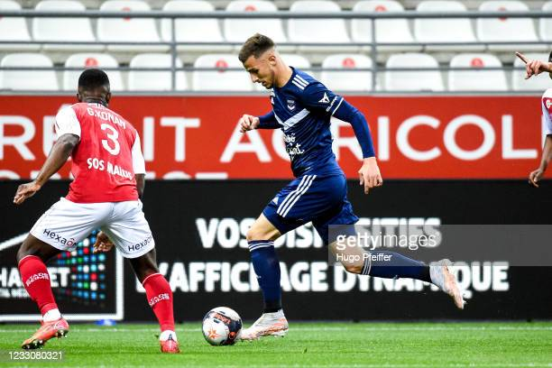 Remi OUDIN of Bordeaux during the Ligue 1 match between Reims and Girondins Bordeaux at Stade Auguste Delaune on May 23, 2021 in Reims, France.