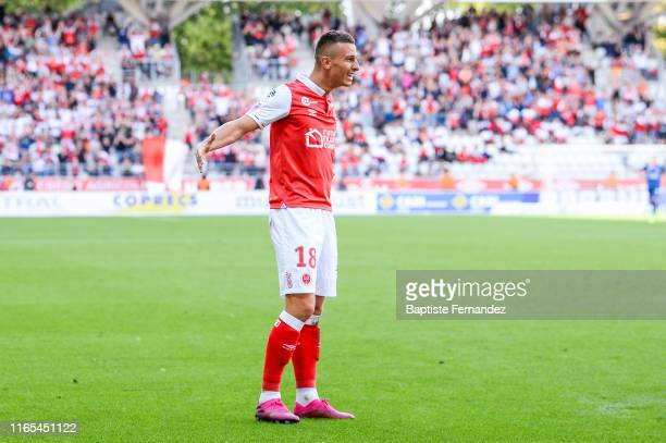Remi Oudin of Reims celebrates his goal during match between Stade de Reims and LOSC Lille on September 1, 2019 in Reims, France.