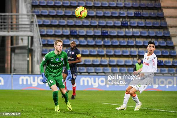 Remi Pillot of Chateauroux and Achraf Bencharki of Lens during the Ligue 2 match between Chateauroux and Lens on April 8 2019 in Chateauroux France