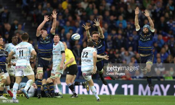 Remi Tales of Racing 92 attempts a last second drop goal which would have taken the match into extra time during the European Rugby Champions Cup...