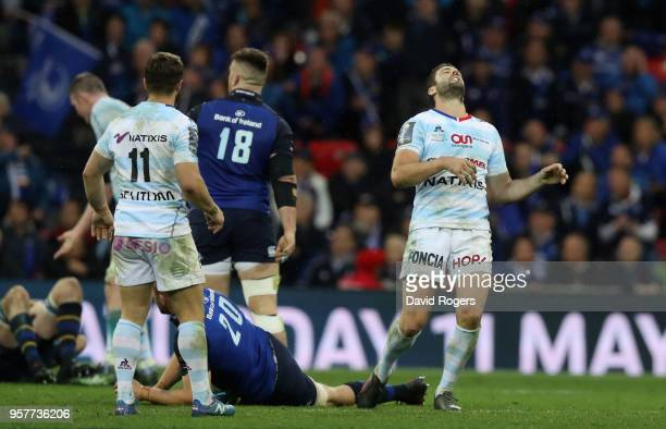 Remi Tales of Racing 92 looks dejected after missing with a drop goal which would have taken the match into extra time during the European Rugby...