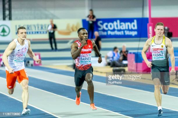 Remigiusz POL BARNES Emre Zafer TUR and KRANZ Kevin GER competing in the 60m Men SemiFinals event during day TWO of the European Athletics Indoor...