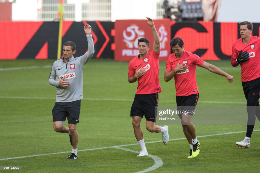 Remigiusz Rzepka, Robert Lewandowski, Grzegorz Krychowiak during training session before friendly match Poland and Chile in Poznan, Poland, on 7 June 2018.