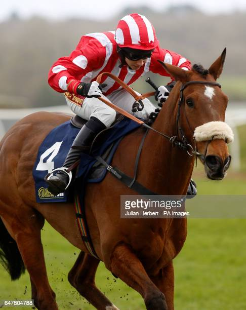 Remiluc ridden by Harry Reed pulls away from the last flight before going on to win The William Hill 'High 5' Supporting Greatwood Handicap Hurdle...