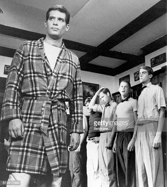 """Remind you of anyone? Well, Scott Newman, wearing a bathrobe in this scene from the Paramount Pictures release, """"Fraternity Row,"""" is actor Paul..."""