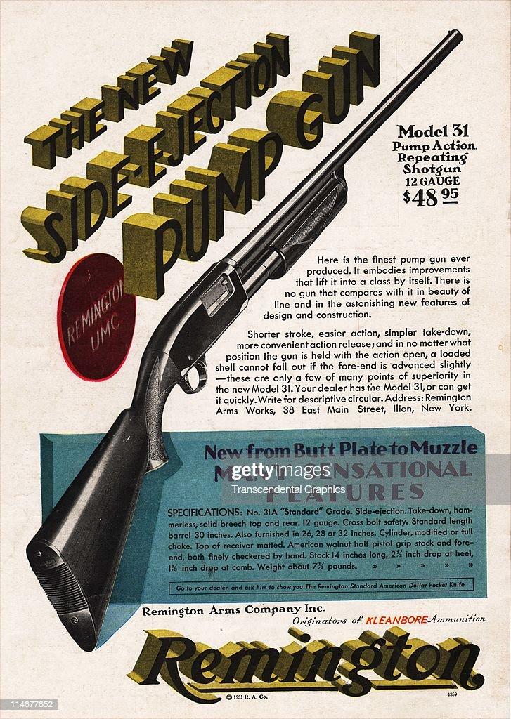 A Remington advertisement for a pump gun appears on