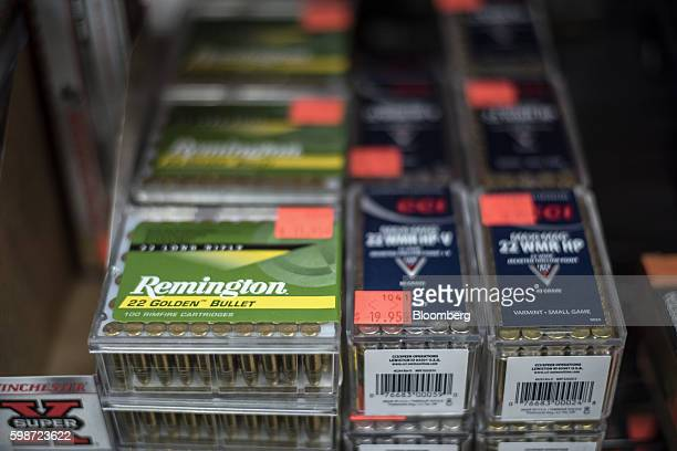 Remington Arms Co bullets sit on display at ABQ Guns in Albuquerque New Mexico US on Thursday Sept 1 2016 The constitutional right of Americans to...