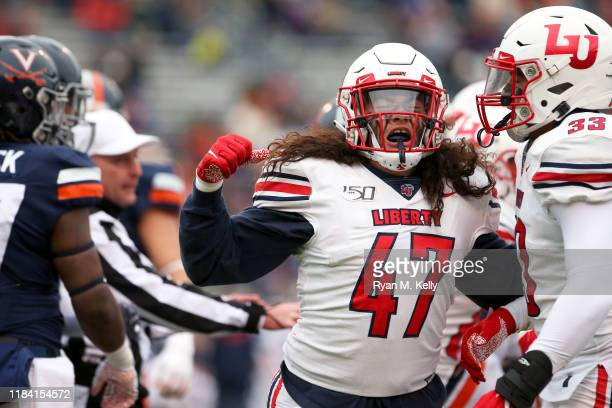 Remington Green of the Liberty Flames celebrates a defensive stop in the first half during a game against the Virginia Cavaliers at Scott Stadium on...