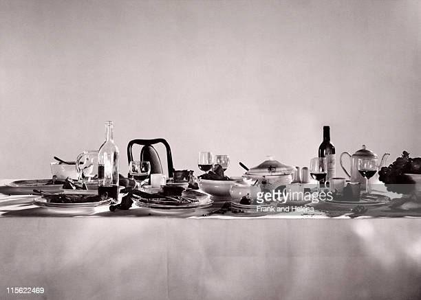 remnants of a sumptuous dinner party - after party mess stock pictures, royalty-free photos & images