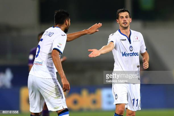 Remo Freuler of Atalanta BC celebrates after scoring a goal during the Serie A match between FC Crotone and Benevento Calcio at Stadio Artemio...