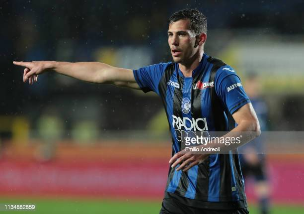 Remo Freuler of Atalanta BC gestures during the Serie A match between Atalanta BC and Bologna FC at Stadio Atleti Azzurri d'Italia on April 4 2019 in...