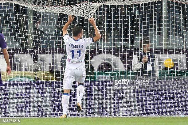 Remo Freuler of Atalanta BC reacts during the Serie A match between FC Crotone and Benevento Calcio at Stadio Artemio Franchi on September 24 2017 in...
