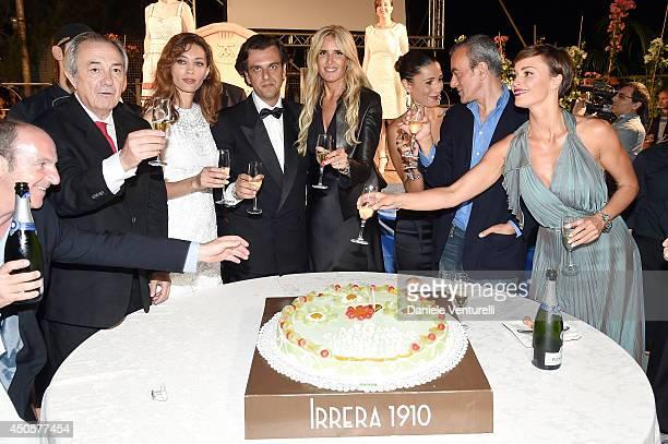 Remo Girone, Margareth Made, Michel Curatolo, Tiziana Rocca, Barbara Tabita and Roberta Giarrusso attend the Messina terrazza ex Irrera a mare Gala...