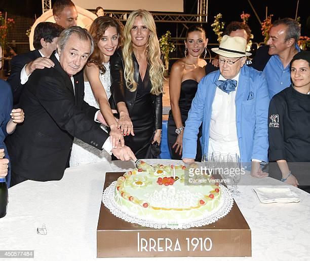 Remo Girone, Margareth Made, Tiziana Rocca, Barbara Tabita and Roberto Gervaso attend the Messina terrazza ex Irrera a mare Gala Dinner on June 13,...