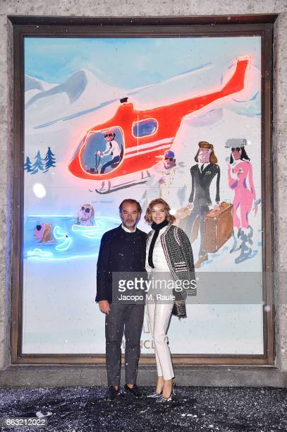 Remo Ruffini and Arizona Muse attend the Moncler Flagship Store Opening Cocktail on October 19 2017 in Milan Italy